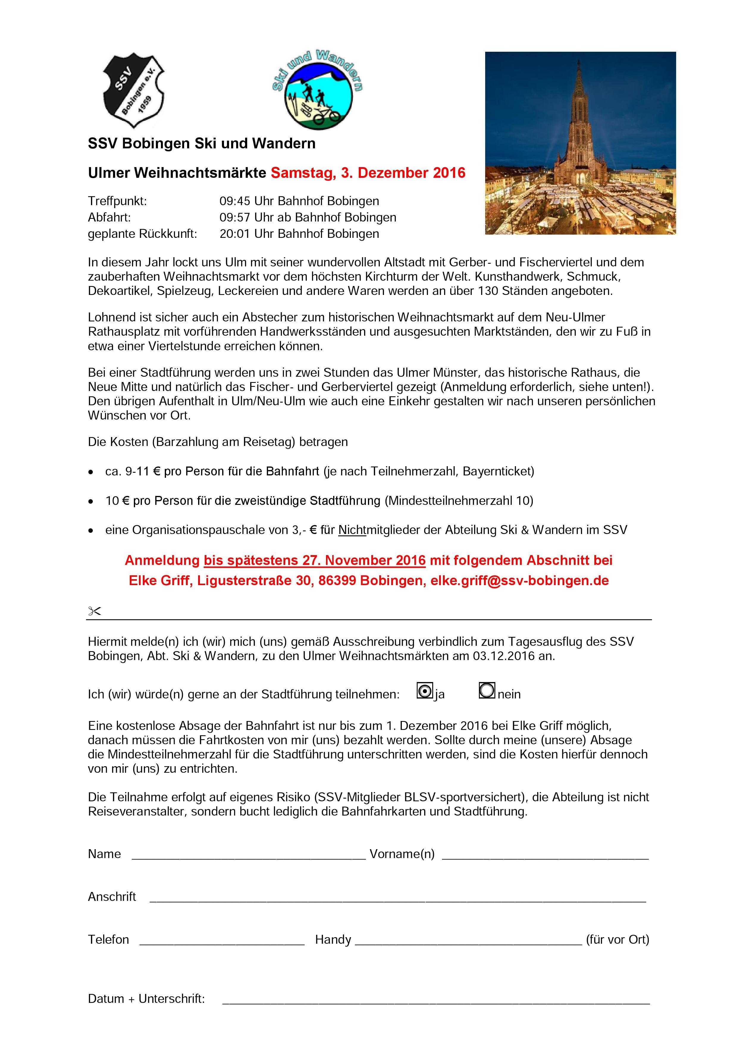 ssv bobingen - weihnachtsmarkt ulm, Einladungen